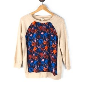 J Crew Sweater Pullover Floral Crewneck Large